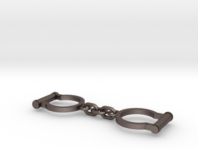 Ned Kelly Gang Outlaw Shackles Handcuffs (larger) in Polished Bronzed Silver Steel