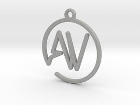 A & V Monogram Pendant in Raw Aluminum