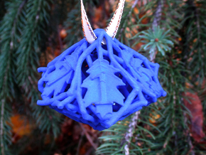 Botanical d10 Ornament in Blue Processed Versatile Plastic