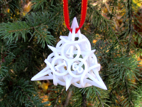 Thorn Die4 Ornament in White Strong & Flexible