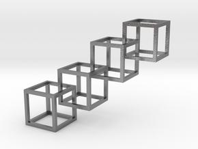 Interlocking Cube Necklace 4 in Natural Silver (Interlocking Parts)