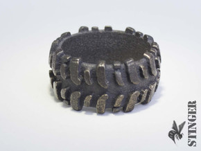 Mud Tire Size 9.5 Ring in Polished Grey Steel