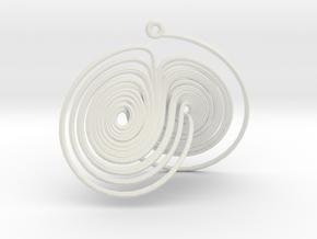 Lorenz Attractor System Necklace in White Strong & Flexible