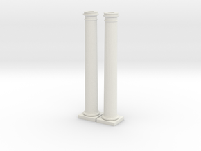 Doric Columns 6000mm high at 1:76 scale in White Natural Versatile Plastic