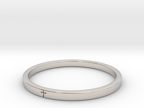 Crossring9_2 in Rhodium Plated Brass