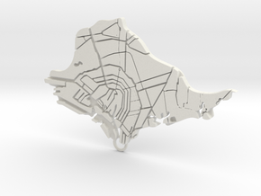 Amsterdam Map in White Natural Versatile Plastic