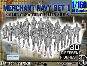 1/160 Merchant Navy Crew Set 1 in Smoothest Fine Detail Plastic