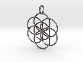 Seed of Life Pendant in Polished Nickel Steel