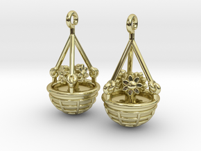 Hanging Basket Earrings in 18k Gold Plated Brass