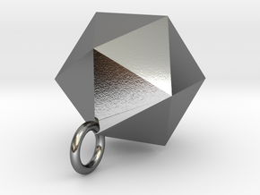 Icosahedron Pendant in Silver Gold and Steel  in Polished Silver