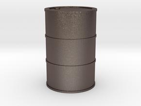 Oil Barrel 1/45 in Polished Bronzed Silver Steel
