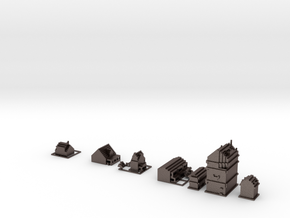 Houses in Polished Bronzed Silver Steel