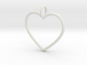 Heart Pendant  in White Natural Versatile Plastic
