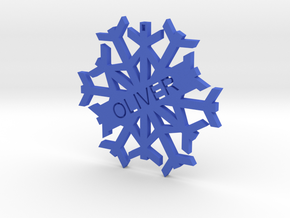 Oliver Snow Flake Christmas Tree Decoration in Blue Strong & Flexible Polished