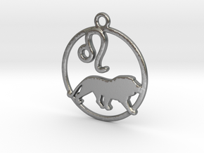 Leo Zodiac Pendant in Natural Silver