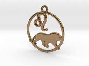 Leo Zodiac Pendant in Natural Brass