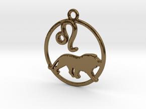 Leo Zodiac Pendant in Polished Bronze