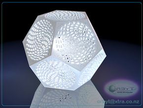 Voronoi Dodecahedron Lampshade ~ 120mm tall in White Strong & Flexible Polished