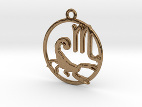 Scorpio Zodiac Pendant in Natural Brass