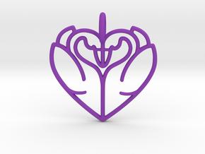 Swan Heart Pendant in Purple Processed Versatile Plastic