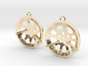 "Double Seconds ""essence"" steelpan earrings, S in 14K Yellow Gold"