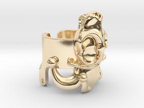 Jester Hyena Skull Ring Part 2  in 14k Gold Plated Brass