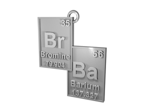"""Br/Ba"" Bromine and Barium Periodic Table Pendant in Natural Silver"
