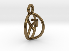 Chiron Key Sagittarius Archer Symbol Pendant in Polished Bronze