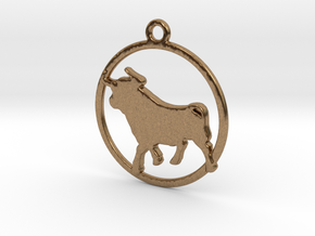 Taurus Pendant in Raw Brass