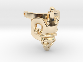 Jester Human Skull Ring Part 1 in 14k Gold Plated Brass