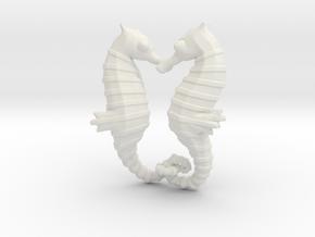 'Hippocampus Love' (Seahorse) LOVE Pendant, Charm in White Natural Versatile Plastic