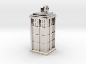 TARDIS key fob in Rhodium Plated Brass