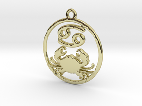 Cancer Zodiac Pendant in 18k Gold Plated Brass
