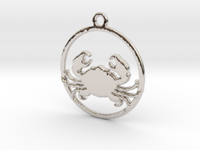 Cancer Pendant in Rhodium Plated Brass