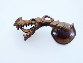 Dragon Cabinet Handle - Facing left in Polished Bronzed Silver Steel