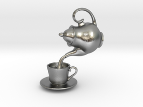 Teapot and Cup Pendant in Natural Silver