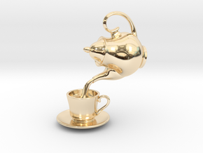 Teapot and Cup Pendant in 14K Yellow Gold