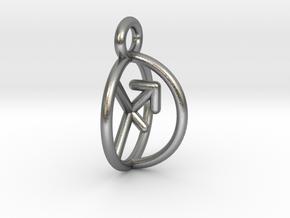 Chiron Key Sagittarius Archer Symbol Pendant in Natural Silver