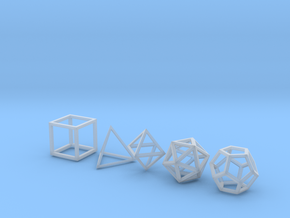Platonic Solids (set of 5) in Smooth Fine Detail Plastic