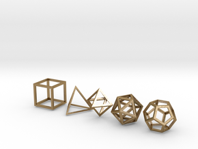 Platonic Solids (set of 5) in Polished Gold Steel