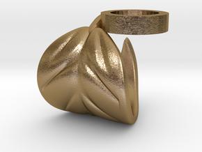 FLEURISSANT - Leaf ring #5 in Polished Gold Steel