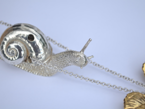 Descending Snail Pendant, part 1 in Polished Silver