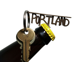 PORTLAND Bottle Opener Keychain in Polished Bronze Steel