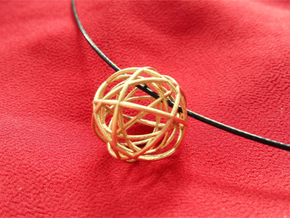 Woven Globe Pendant in Raw Brass