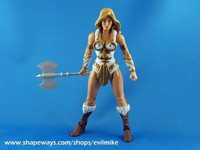 Mini Comic Female Axe in White Strong & Flexible Polished