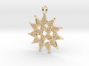 Pediastrum Algae pendant - Science Jewelry in 14k Gold Plated Brass
