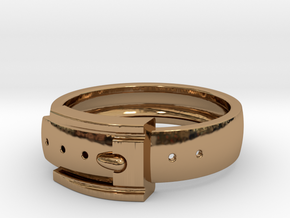 Belt Buckle Ring (Sizes 5 - 11.5) (Customisable) in Polished Brass: 11 / 64