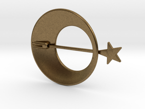 Eclipse With Shooting Star Brooch in Natural Bronze (Interlocking Parts)