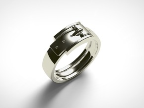 Belt Buckle Ring (Sizes 5 - 11.5) (Customisable) in 14k White Gold: 6 / 51.5