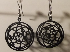 Earrings 3D curve on sphere in Black Natural Versatile Plastic